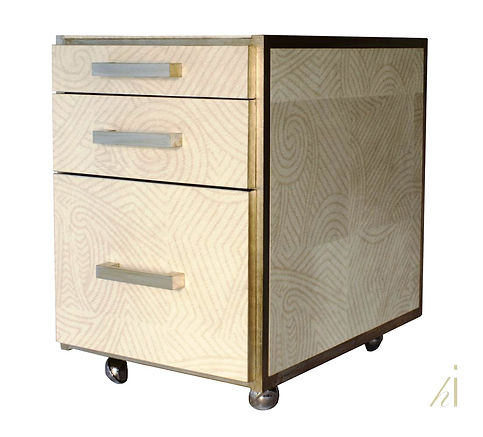Block of Drawers Restyled by Habitat Improver, wallpaper decoupage and aged silver leaf