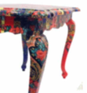 Table Restyled by Habitat Improver, fabric decoupage of portuguese folklore scarfs