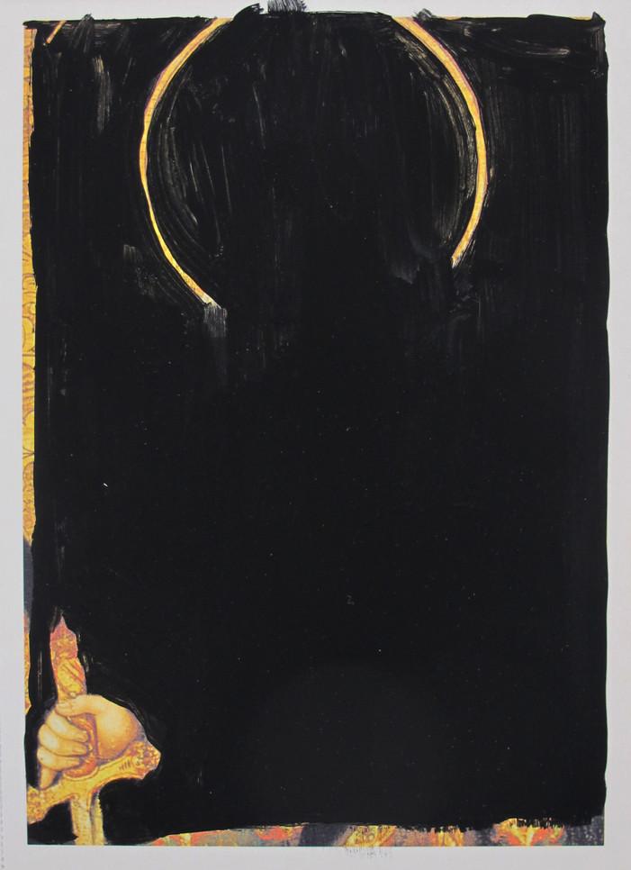 'Obliteration of a saint ', acrylic gouache on postcard, 2018