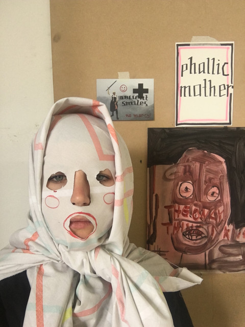 me as the phallic mother in the studio