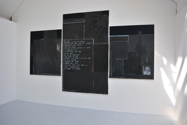 Installation shot of 'kneel before icons'