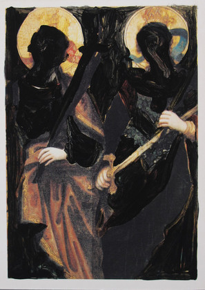 'Obliteration of saints 5', acrylic gouache on Postcard, 2018