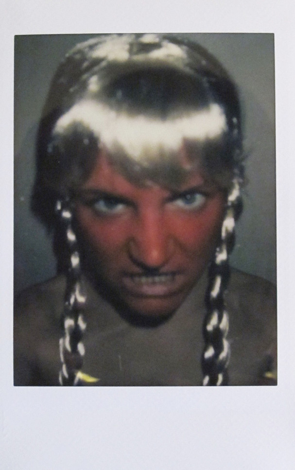 'Selfportrait as warthful Brunhild', instant photograph, 2020