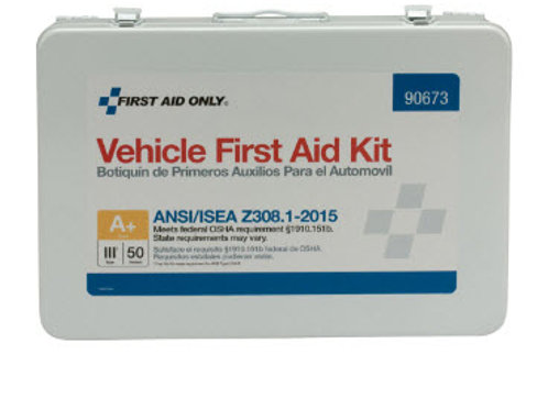 50 Person Vehicle ANSI A+ First Aid Kit, Metal Weatherproof Case