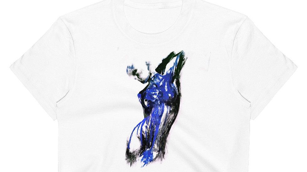 Stroke Piece #1 Art (white & blue) Crop Top