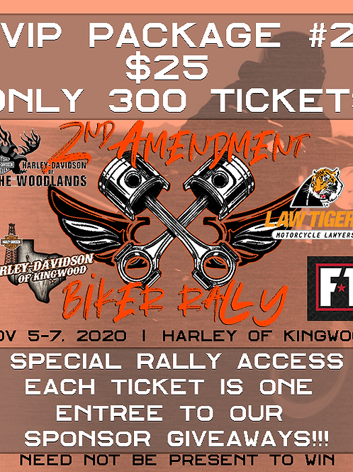 2A Biker Rally #2 VIP Ticket to Giveaway Prizes & Special Access