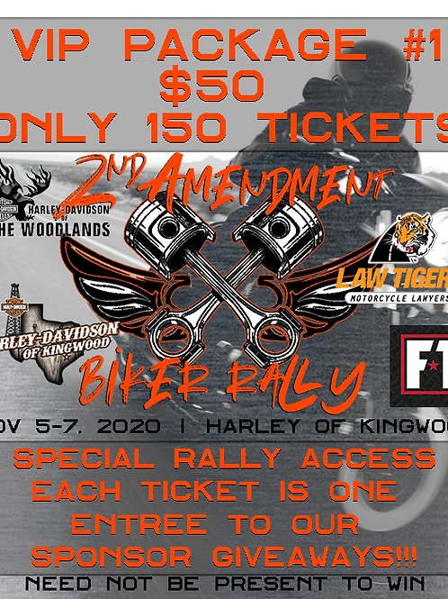 2A Biker Rally #1 VIP Ticket to Giveaway Prizes & Special Access