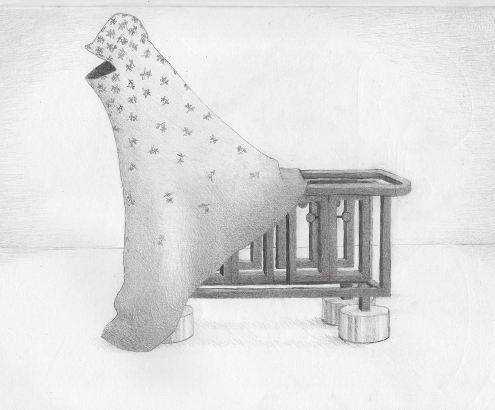 Stripped Kitchen Island - sculpture plan,  graphite pencil
