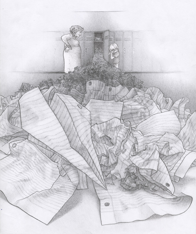 Title:     Locker Cleanout   Material:   graphite pencil