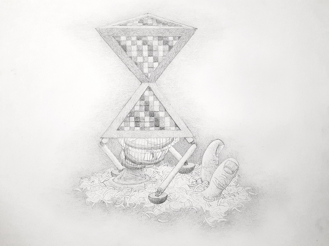 Mounting Ararat - sculpture plan, graphite pencil