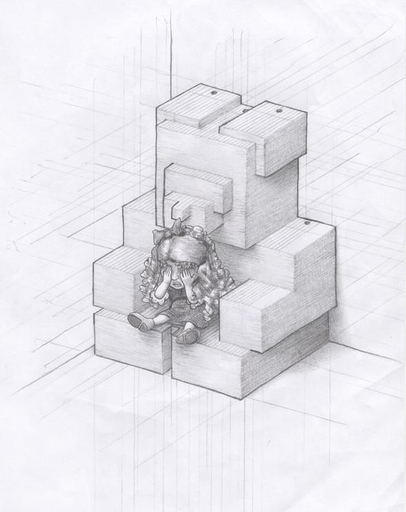 Bear's Her Burden,  graphite pencil