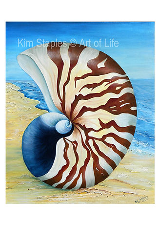My love of the ocean , shells and the sand beneath my feet is portrayed in this painting