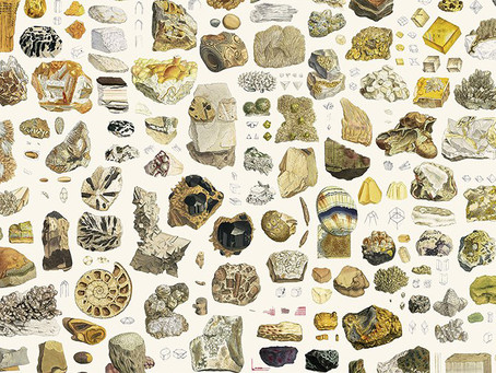 Nicholas Rougeux's display color-codes 19th century mineral illustrations
