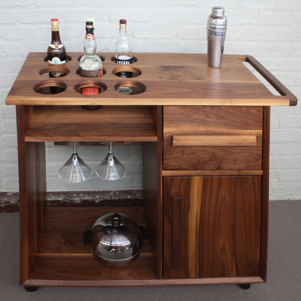 Solid walnut bar cart
