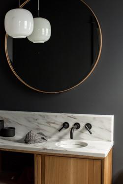 Custom vanity and wood mirror