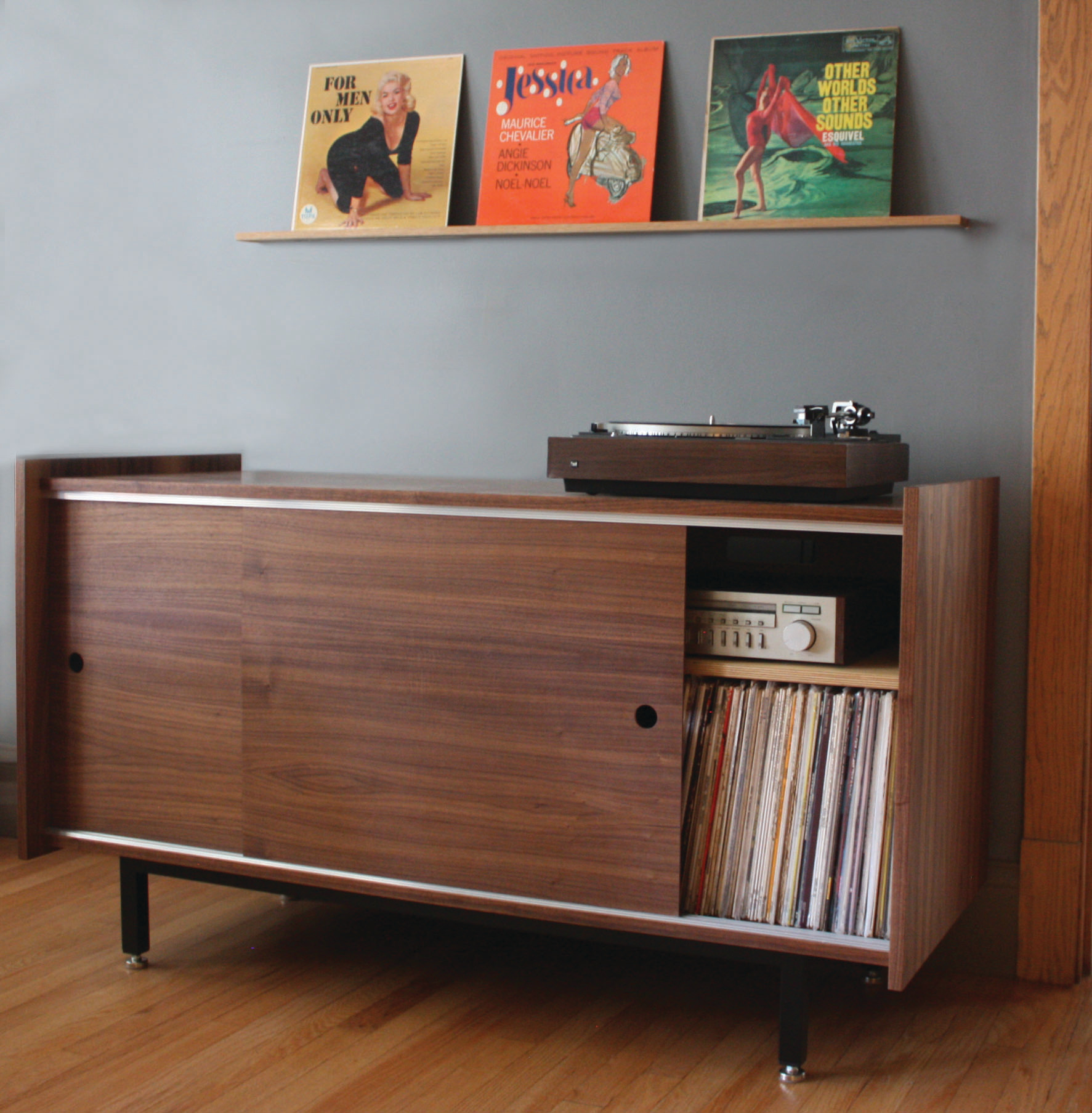 The Standard Audio Credenza with Record Rail