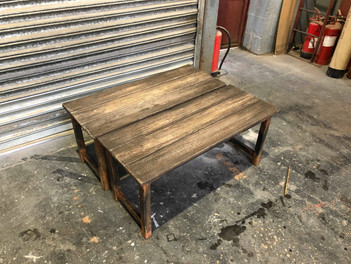 Faux rusty wooden benches for theatre show  Built at Liverpool Scenic Workshops