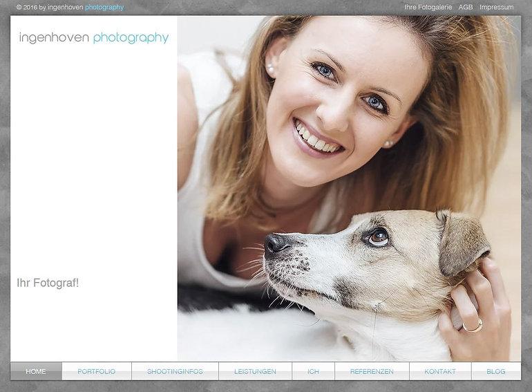 Das ist die Startseite von ingenhoven photography.