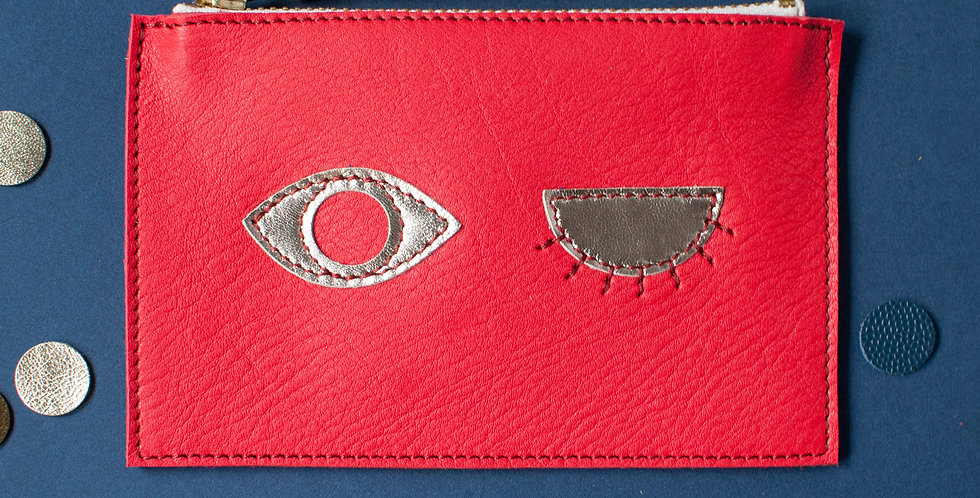 mini Pochette Cancale - rouge & corail