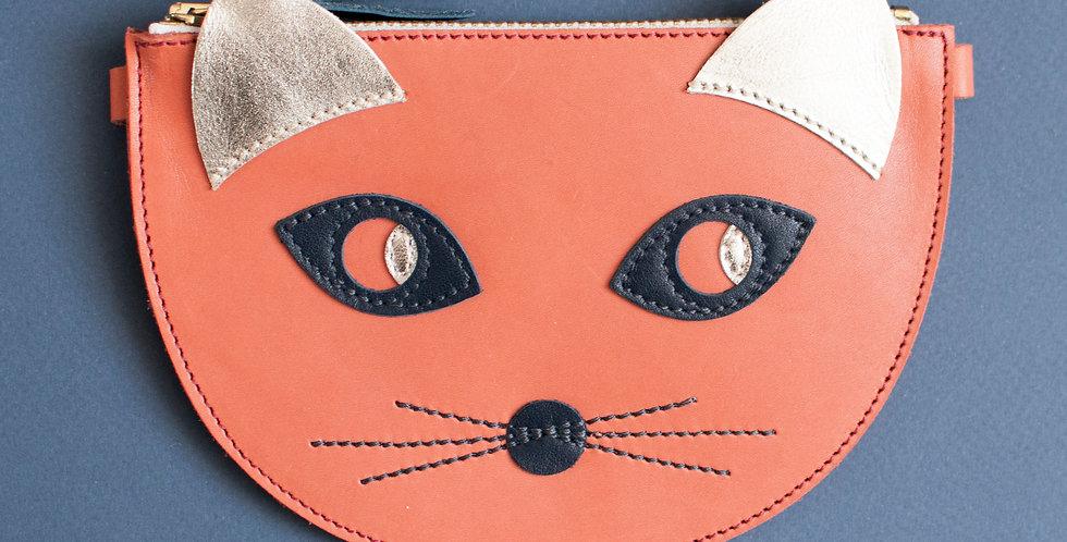 mini sac / pochette Cat ! corail