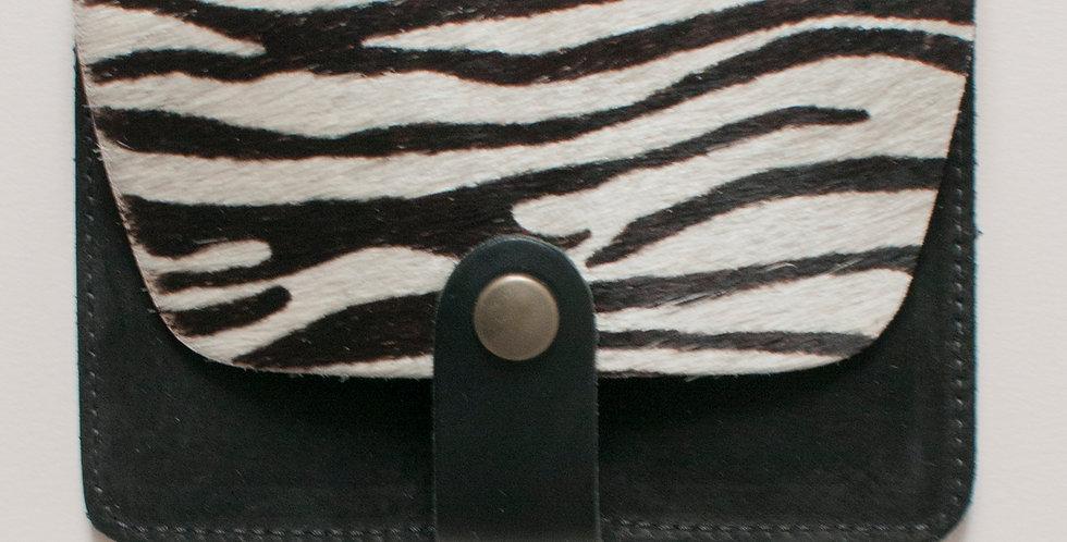 Porte-cartes Tregana - poils zèbre & noir nubuck