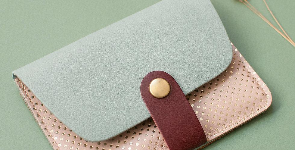Porte-cartes Tregana - bleu piscine & rose pois dorés