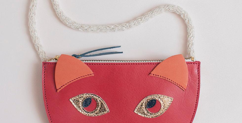 mini sac / pochette Cat ! framboise