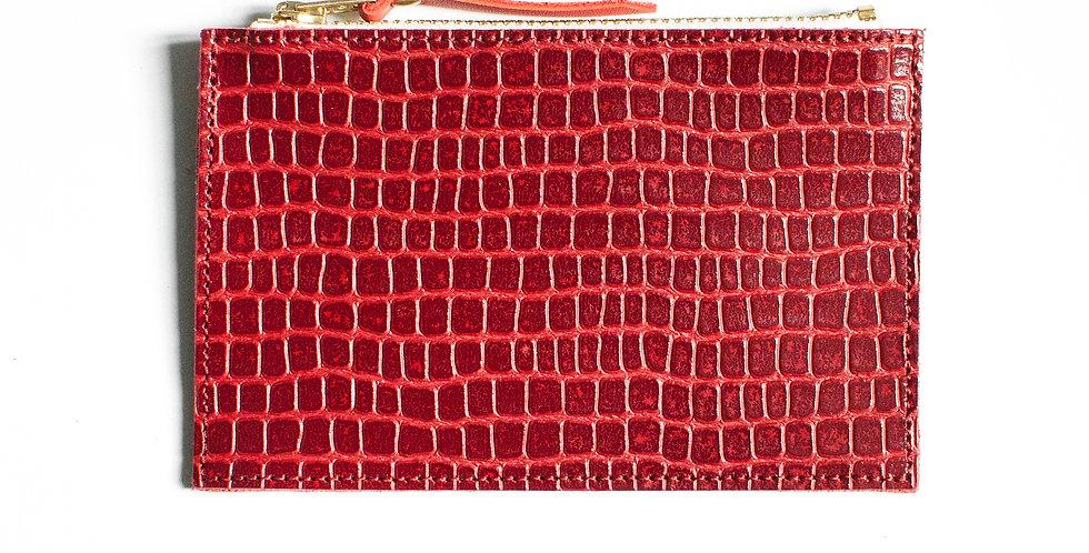 """mini Pochette Cancale - rouge """"croco"""" & corail"""