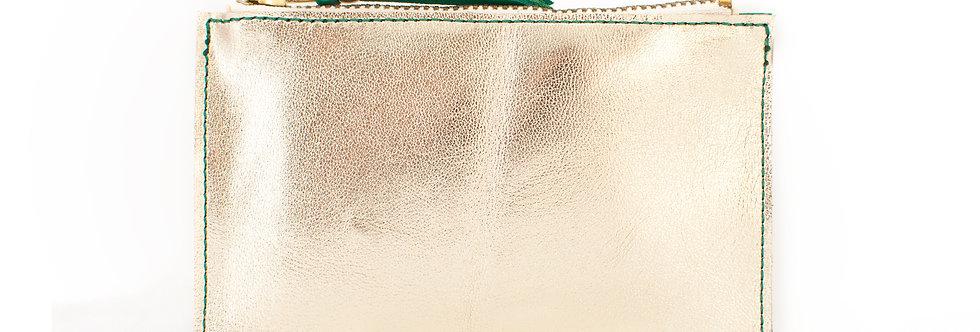 Mini pochette Cancale - vert printemps & doré