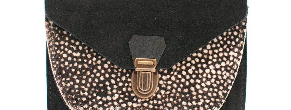Portefeuille Paimpol - noir nubuck et poils tachetés