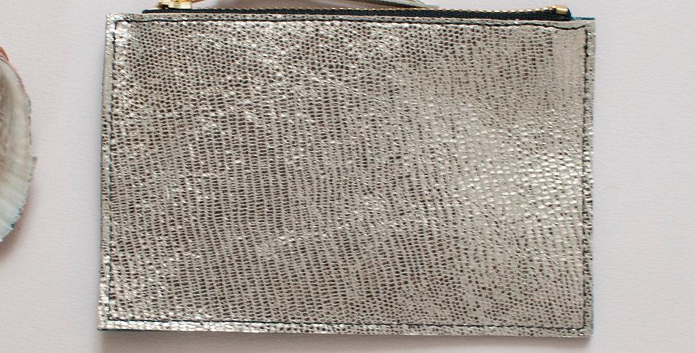 Mini pochette Cancale - argenté & émeraude