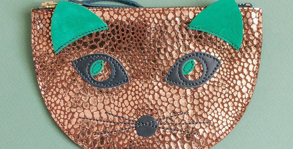 mini sac / pochette Cat ! léopard cuivré