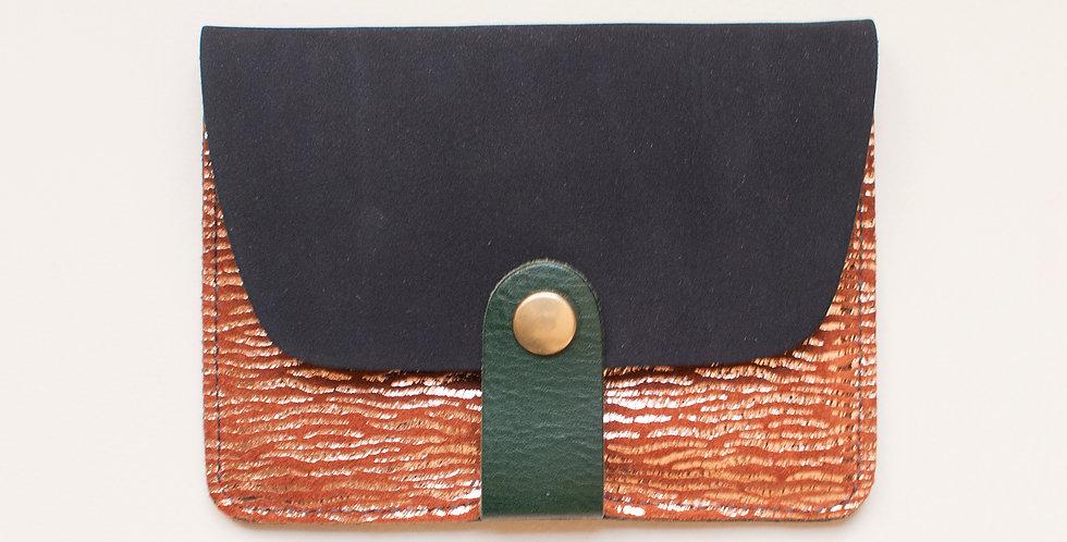 Porte-cartes Tregana - gris nubuck & tigre cuivré