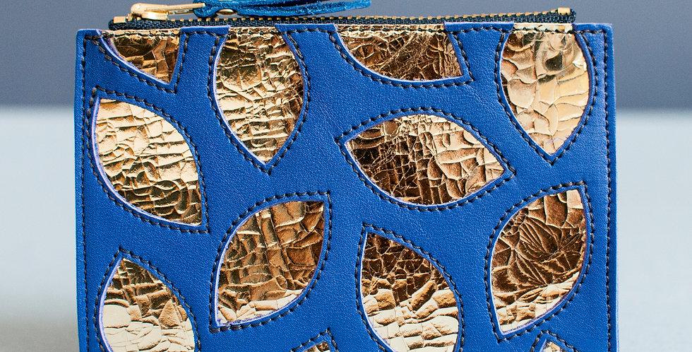 Pochette Cancale - bleu & feuilles dorées