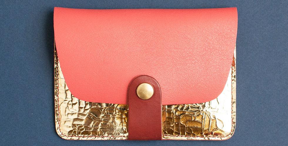 Porte-cartes Tregana - corail & doré facettes