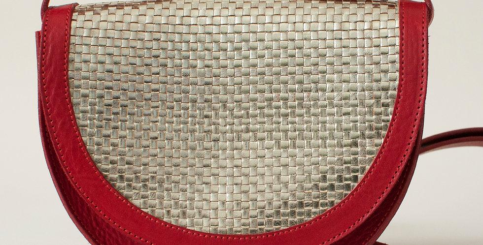 mini Sac Térénez - rouge & tresse dorée