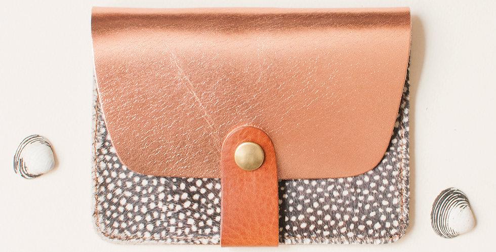 Porte-cartes Tregana - cuivré & poils tachetés