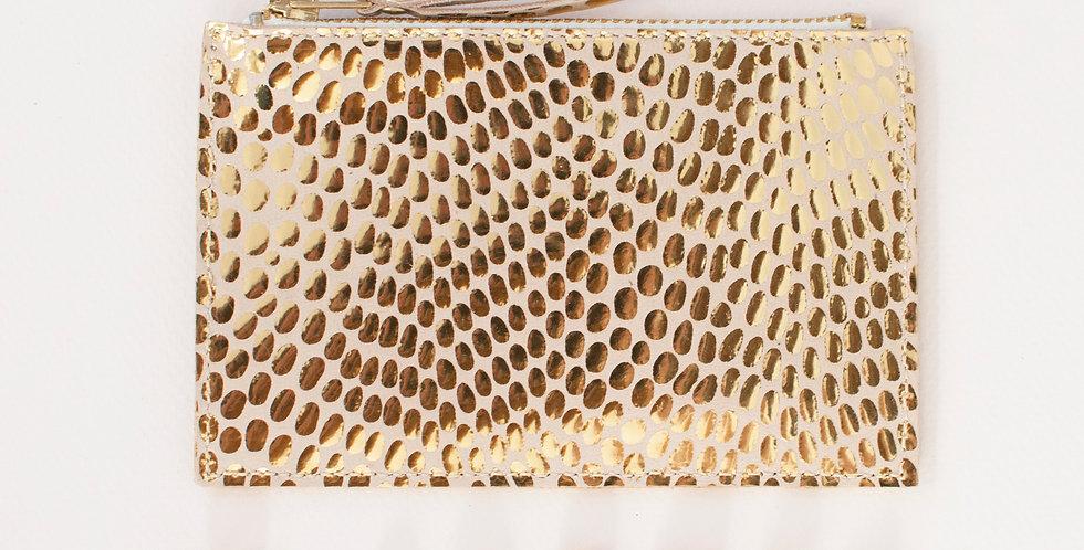 mini Pochette Cancale - pois dorés & jaune soleil