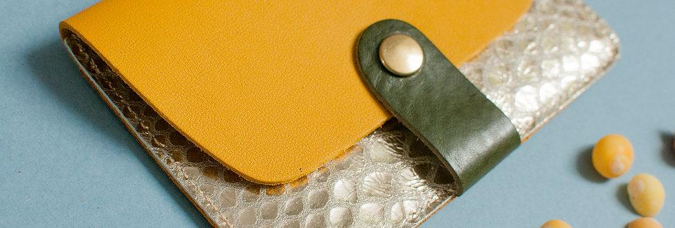 """Porte-cartes Tregana - jaune soleil & """"serpent"""" doré"""