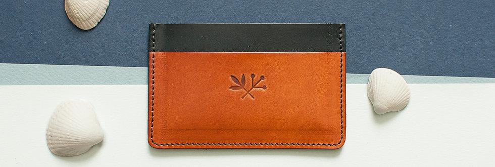 Porte-cartes Roscoff - marine & miel ou marron