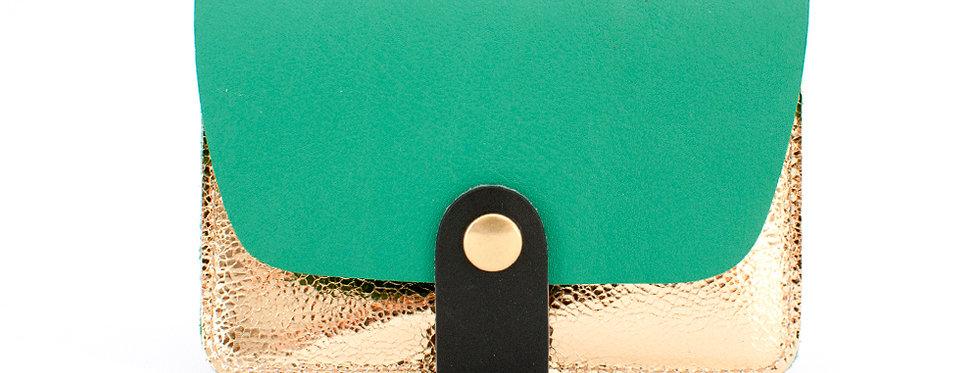 Porte-cartes Tregana - vert printemps & doré facettes