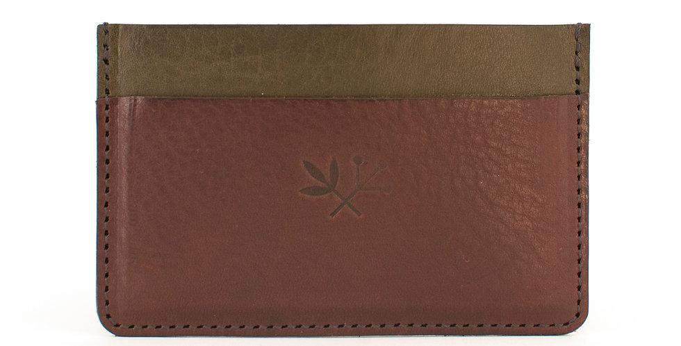Porte-cartes Roscoff - olive & marron