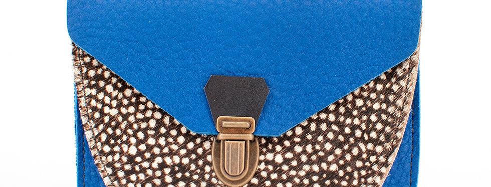 Portefeuille Paimpol - bleu roi& poils tachetés