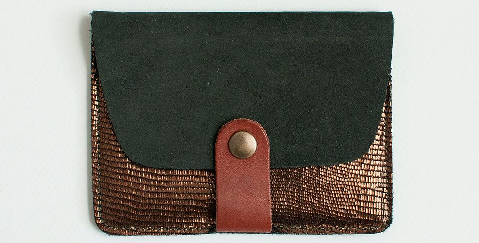 Porte-cartes Tregana - kaki nubuck & bronze