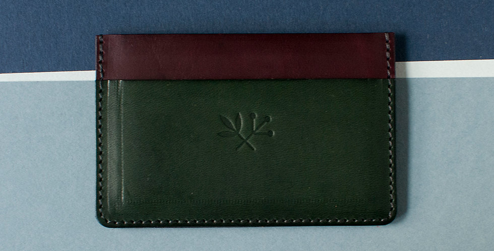 Porte-cartes Roscoff - grenat & vert foret