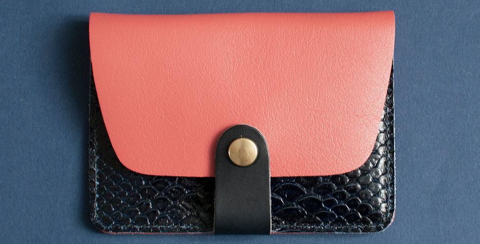 """Porte-cartes Tregana - corail & """"python"""" bleu"""