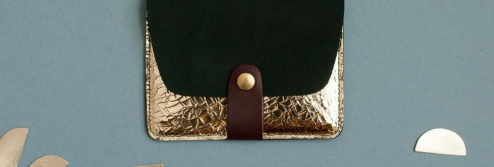 Porte-cartes Tregana - kaki nubuck & doré facettes