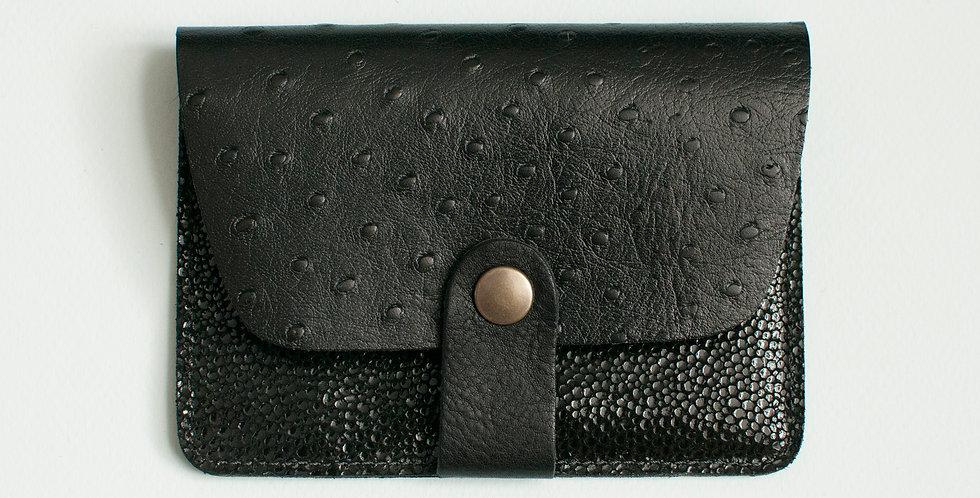 """Porte-cartes Tregana - """"autruche"""" & noir bubble"""