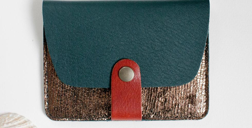 Porte-cartes Tregana - vert forêt & bronze