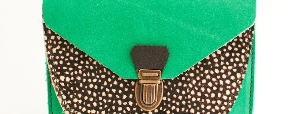 Portefeuille Paimpol - vert printemps nubuck et poils tachetés
